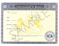 Sample Certified Copy of Birth Certificate
